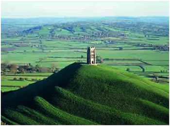 Glastonbury Tor and tower to the Archangel Michael, England