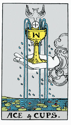 Ace of Cups Card from Original Rider Waite Tarot Deck